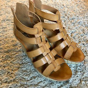 Strappy Leather Wedge Heels